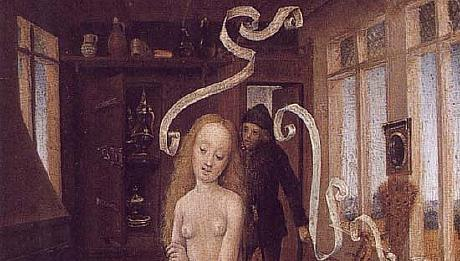 15th century - Flemish - Witch casting love spells on youth