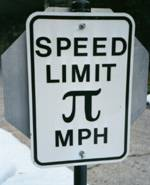 Pi Sign: Speed Limit Pi miles per hour
